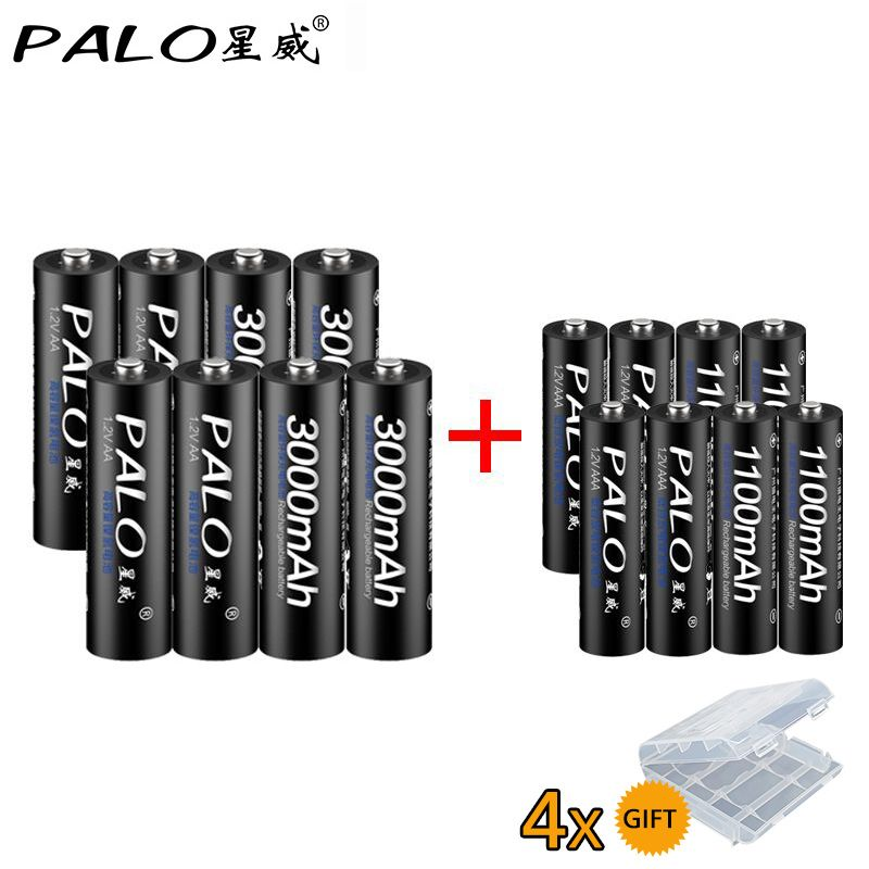<font><b>8Pcs</b></font> PALO 1.2V 3000mAh AA Rechargeable Battery and <font><b>8Pcs</b></font> 1100mAh AAA Rechargeable Batteries For Toys Car