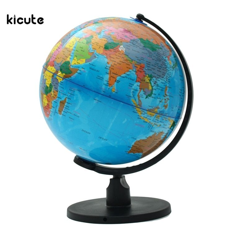 25cm World Globe Map With Swivel Stand Map of Earth Geography Educational Tool Bookcase Shop School Office Desktop Decor Gift