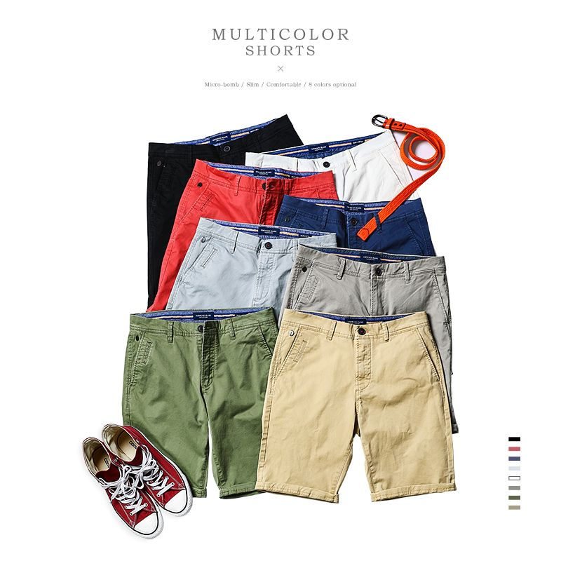 SIMWOOD 2017 Summer New Casual  Shorts Men Cotton  Sim Fit Solid 8 Color Available Knee length  High Quality  KD5064
