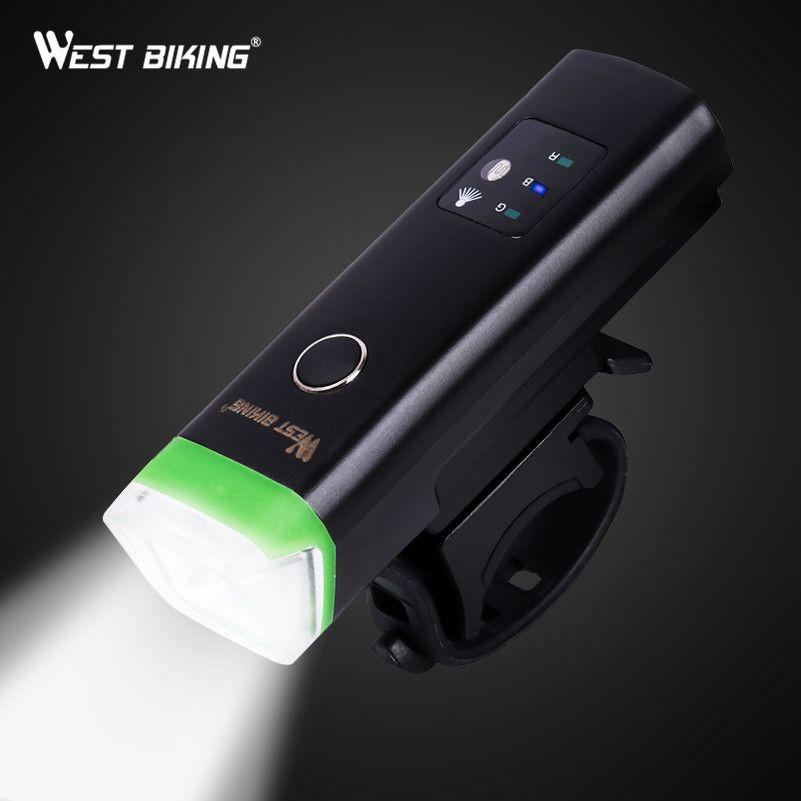 WEST BIKING Bike Front Light Induction Bicycle Bright Light USB Charging Flashlight Cycling Waterproof Torch Bike Headlight