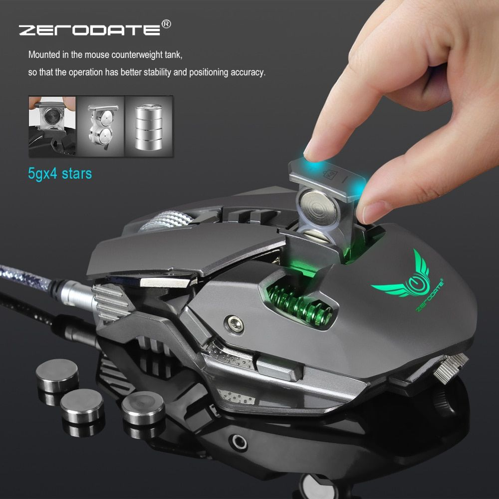 ZERODATE 3200 DPI USB filaire souris de jeu compétitive 7 boutons programmables mécanique Macro définition programmation jeu souris