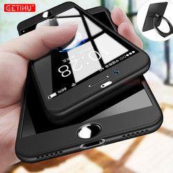 GETIHU Pour iPhone X 10 7 6 6 s plus Cas 360 Plein de luxe Protection de Couverture de Cas Coque De Protection Pour iPhone 6 6 S Cas + Nano verre