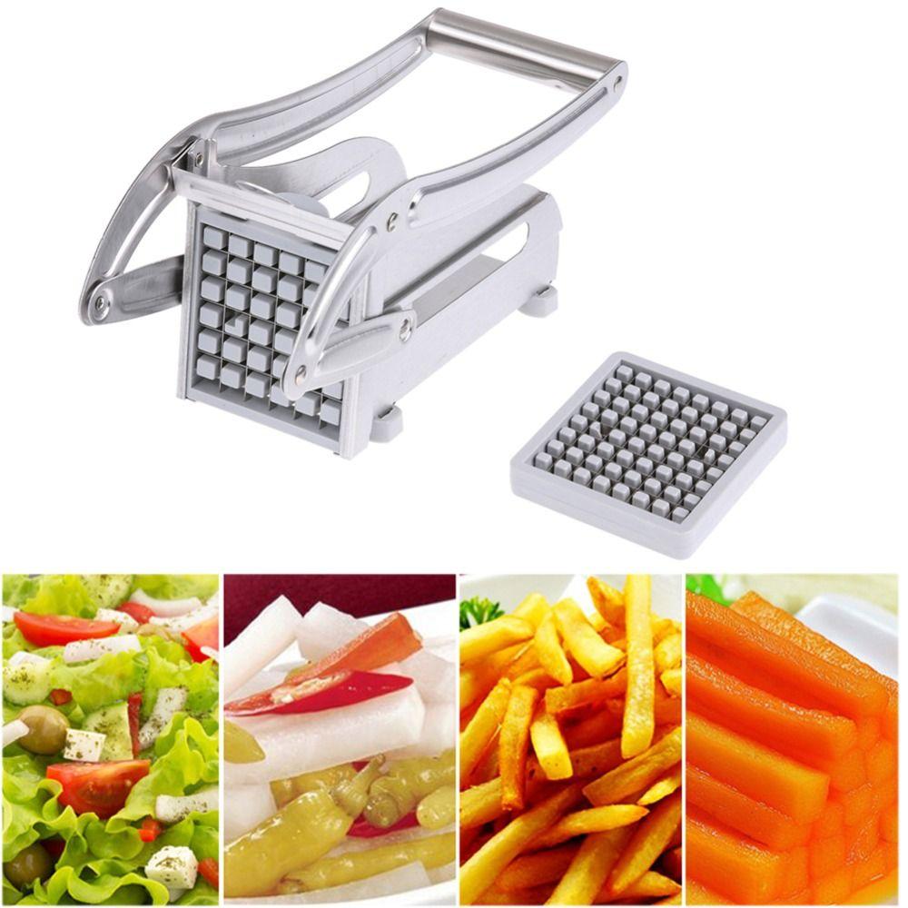Acier inoxydable maison frites fabricant pommes de terre Chips bande trancheuse coupe faisant la Machine fabricant trancheuse Chopper Dicer + 2 lames