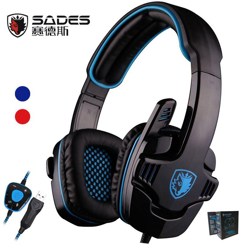 Sades SA901 SA-901 Gaming Headset 7.1 surround USB Casque avec Microphone Antibruit Mic pour Ordinateur PC Portable Gamer