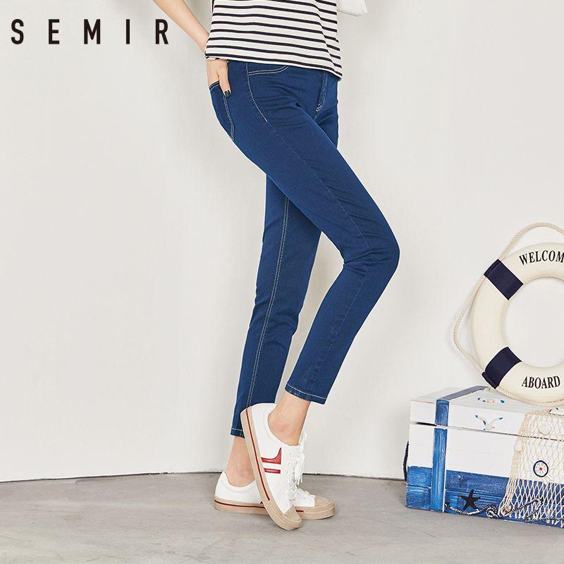 SEMIR nouveau Jeans pour femmes 2019 Vintage Slim Style crayon Jean haute qualité Denim pantalon pour 4 saison pantalon adolescent mode