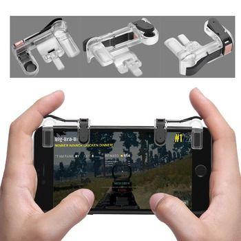 MASiKEN 1Pair PUBG Mobile Game Fire Button Aim Key Smart phone Gaming Trigger L1 R1 Shooter Controller Transparent V3.0
