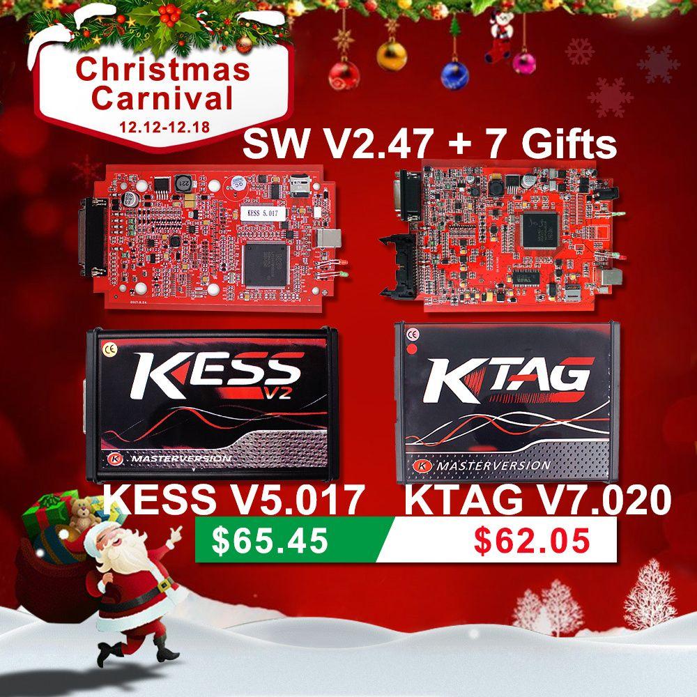 Online Red EU KESS V5.017 V2.47 Ktag V7.020 No Token Limit Master Kess V2 5.017 K-tag K TAG 7.020 OBD2 Manager Tuning Kit Tool