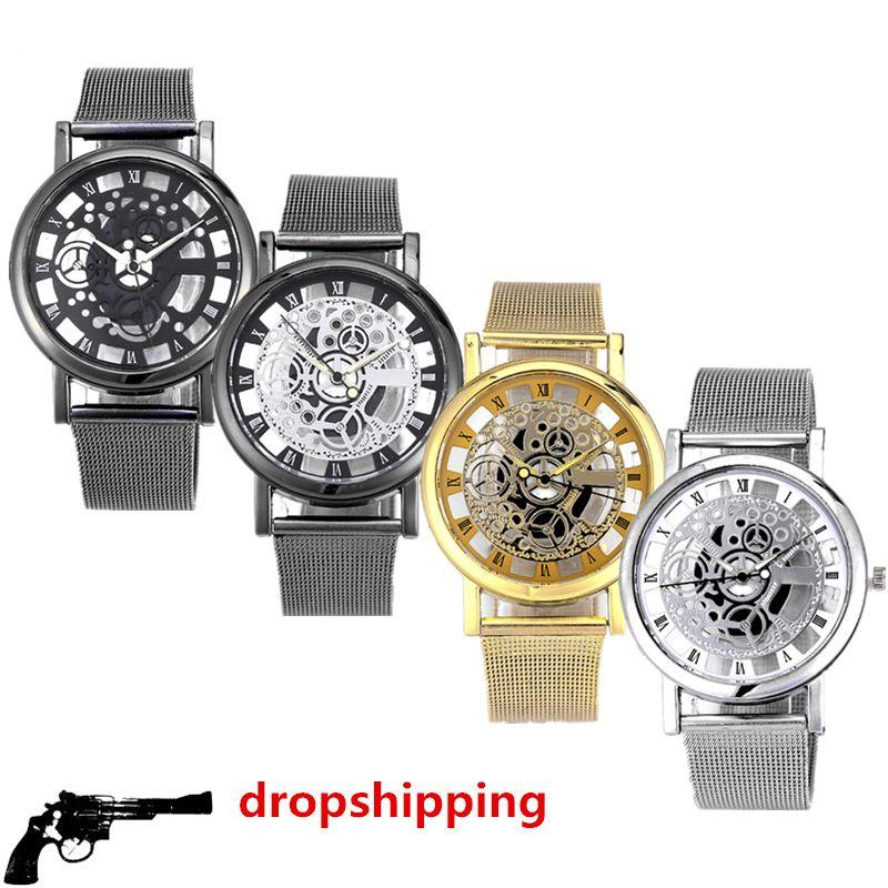 Mode montre hommes Squelette Montre Hommes En Acier Inoxydable Maille Bande Montre À Quartz Horloge Relojes Mujer Reloj Hombre dropshipping