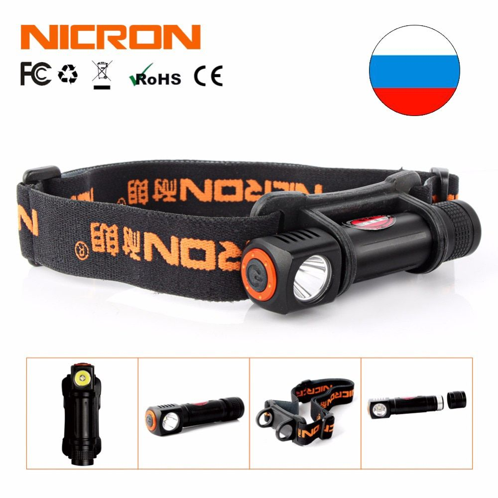 NICRON 1W Mini LED Head lamp 120Lm Camping 72 Meter Long <font><b>Beam</b></font> Waterproof IPX4 Flashlight HeadLight Torch Lamp H12
