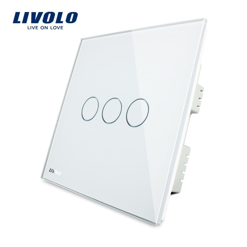 Livolo White Crystal Glass Panel, Touch Switch, UK standad, Touch Light Switch/Wall Light Touch Switch AC 220-250V VL-C303-61