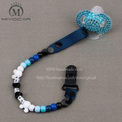MIYOCAR Personnalisé-N'importe Quel nom 2016 fait À La Main bleu blanc perles factice clip titulaire sucette clips chaîne sucette pour bébé