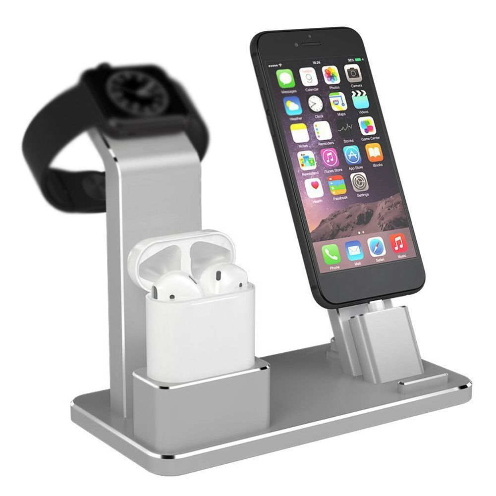 New 3-in-1 Charge Stent Aluminium Alloy Charging Dock Non-slip Rubber Phone Holder Support for iwatch / IPHONE / IPAD AirPods