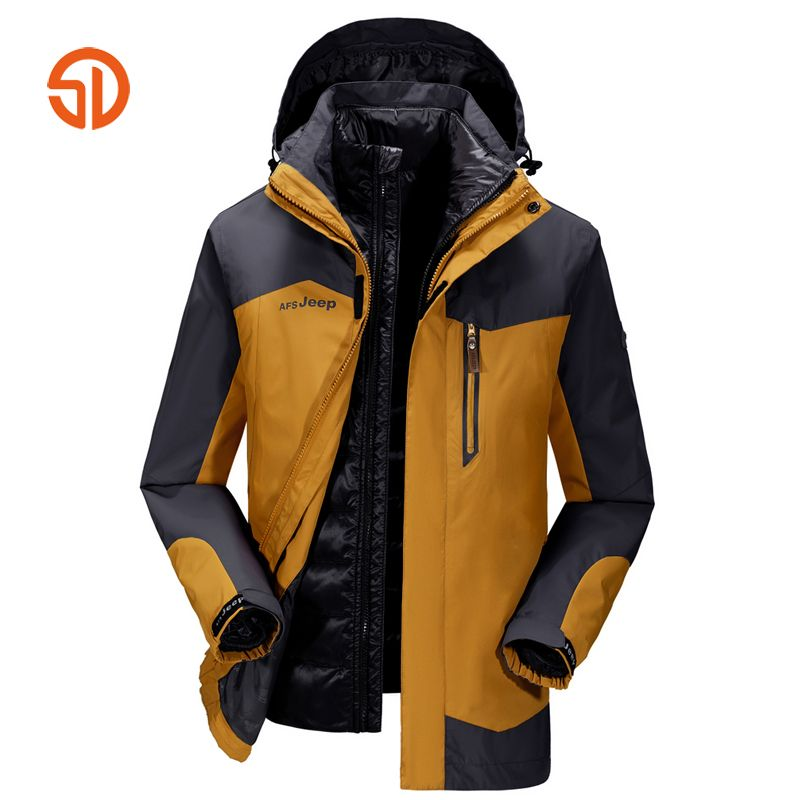 AFS JEEP Soft Shell Jackets Men Tactical Hikingg Jacket Winter Jacket Coat Mens Patchwork Plus Size M-4XL Outdoors Sportting