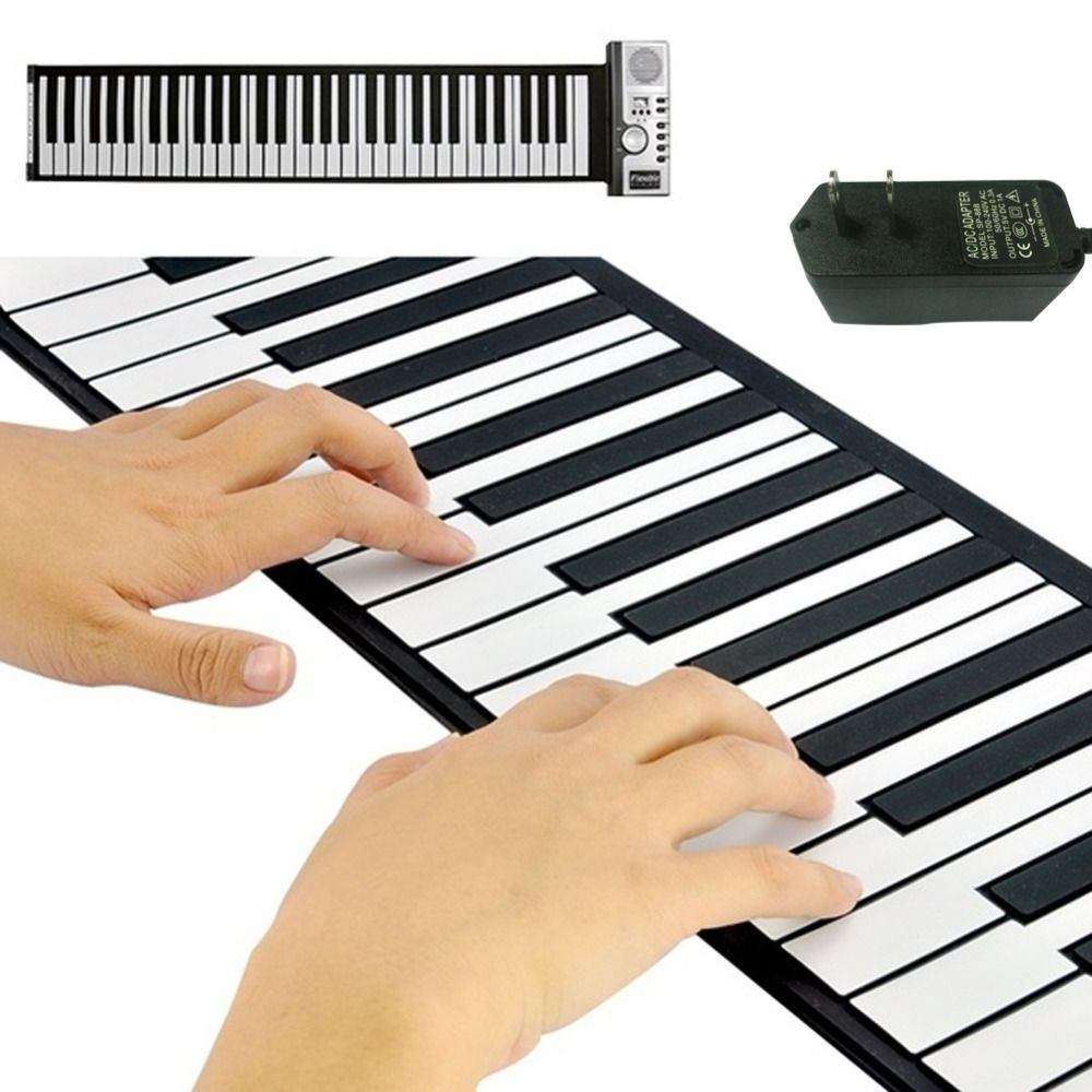 Fold profession Electronic organ Superior Roll Up Piano with Soft Keys (61 Keys, 128 Synthesized Tones, 100 Preset Rhythms)