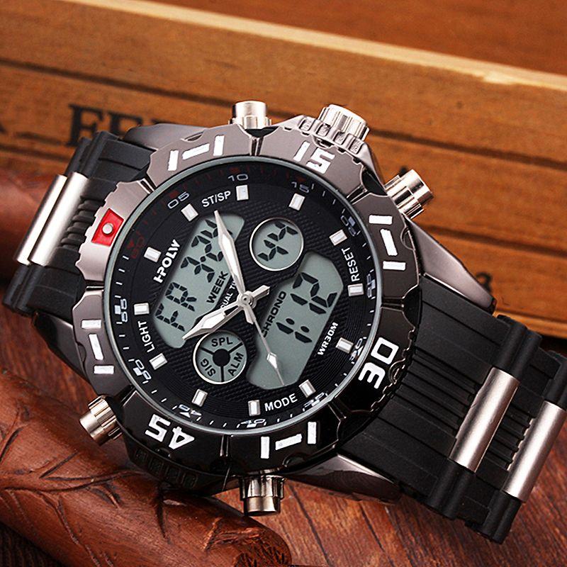 HPOLW Marke Männer Sport Uhren Mode Chronos Gummi männer Wasserdichte LED Digital Uhr Mann Military Uhr Relogio Masculino