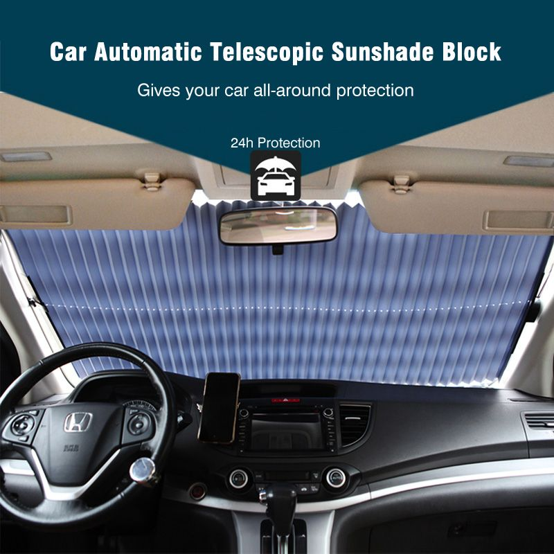 Upgrade! Car Retractable <font><b>windshield</b></font> sun shade Block sunshade cover Front/Rear window foil Curtain for Solar UV proect film