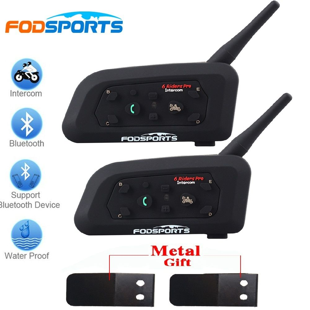2018 Fodsports 2 pcs V6 Pro Motorcycle Helmet Bluetooth <font><b>Headset</b></font> Intercom 6 Riders 1200M Wireless Intercomunicador BT Interphone
