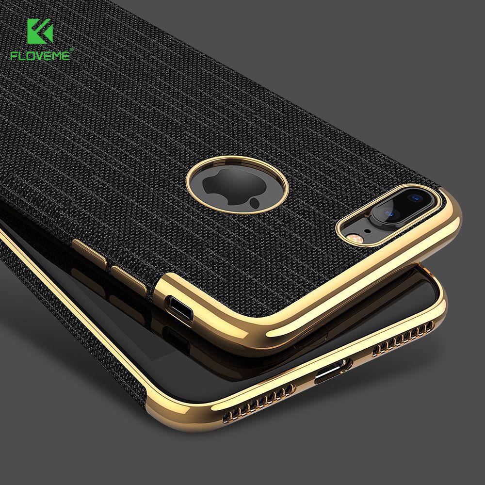 FLOVEME Luxuxüberzug Weich Fälle Für iPhone 7/7 plus Gold Schwarz Dünne zurück Telefon-kasten Für Apple iPhone 8 7 Abdeckung Coque Logo Loch