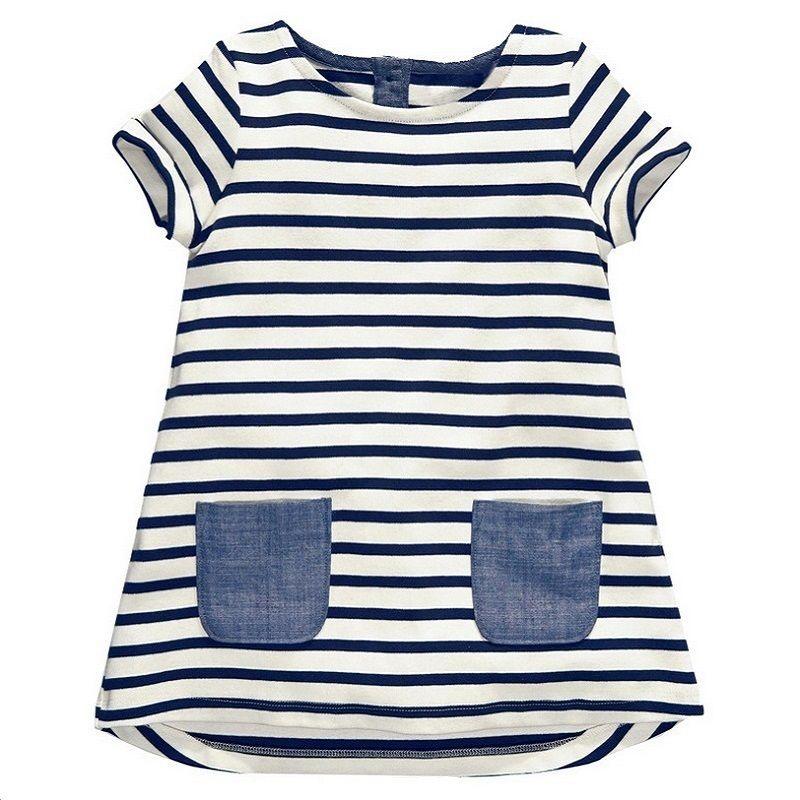 1-6 Ans Filles Robe 2018 Nouveau Bleu Bande D'été Robes Coton Casual Longues Hauts Enfants Vêtements KF047