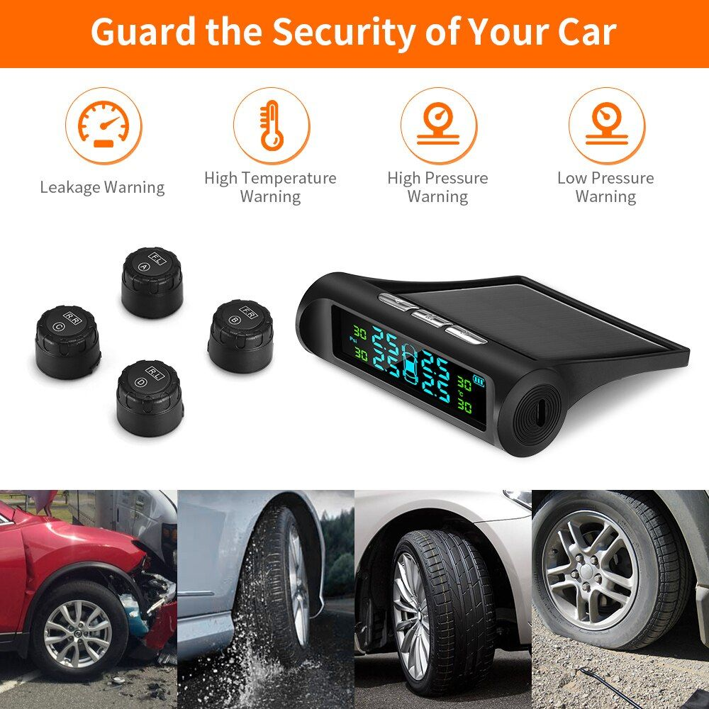 Zeepin Tyre Pressure Monitoring System Solar TPMS Digital LCD Display Auto Security Alarm Systems with 4 External Sensors