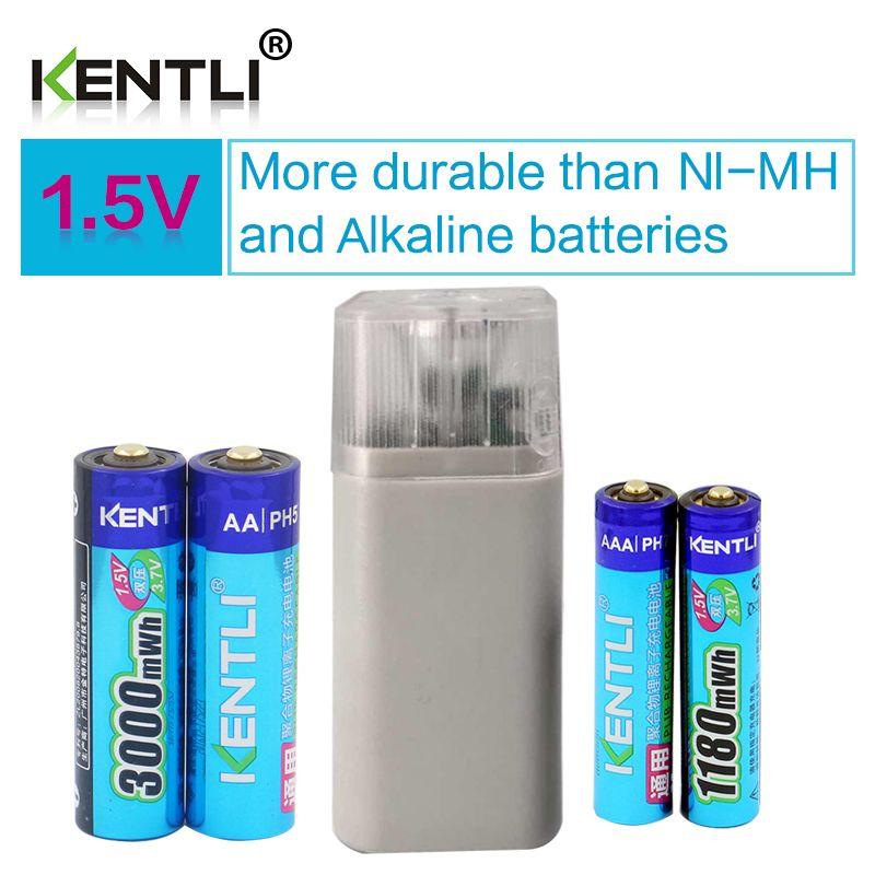 4 pcs 1.5 v 1180mWh 3000mWh AA AAA rechargeable au lithium polymère batterie + 4 slots aa aaa li-ion chargeur de batterie avec lampe de poche