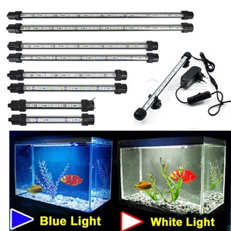 Aquarium Fish Tank 9/12/15/21 LED Light Blue/White 18/28/38/48CM Bar Submersible Waterproof Clip Lamp Decor EU Plug