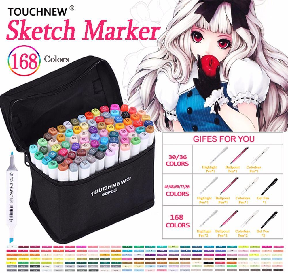 Touchnew 30 40 60 80 168 couleurs stylo marqueur ensemble double tête croquis marqueurs pinceau pour dessiner Manga Animation Design Art fournitures