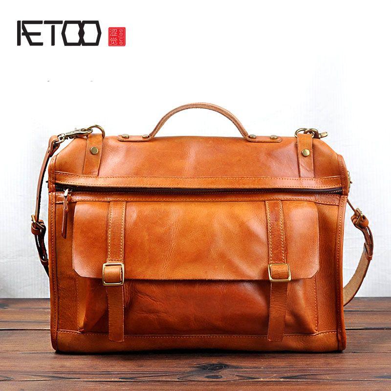 AETOO New tide Korean original retro handmade first layer cowhide tannage male bag leather bag Messenger bag