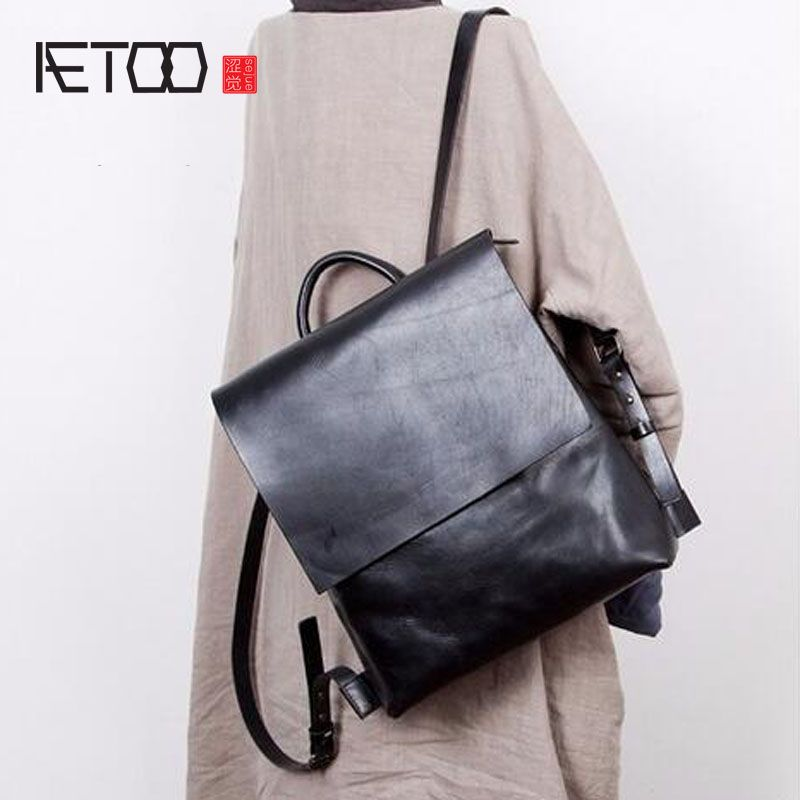 AETOO Designer original Japanese retro art first layer cowhide student bag female shoulder bag leather Korean bag