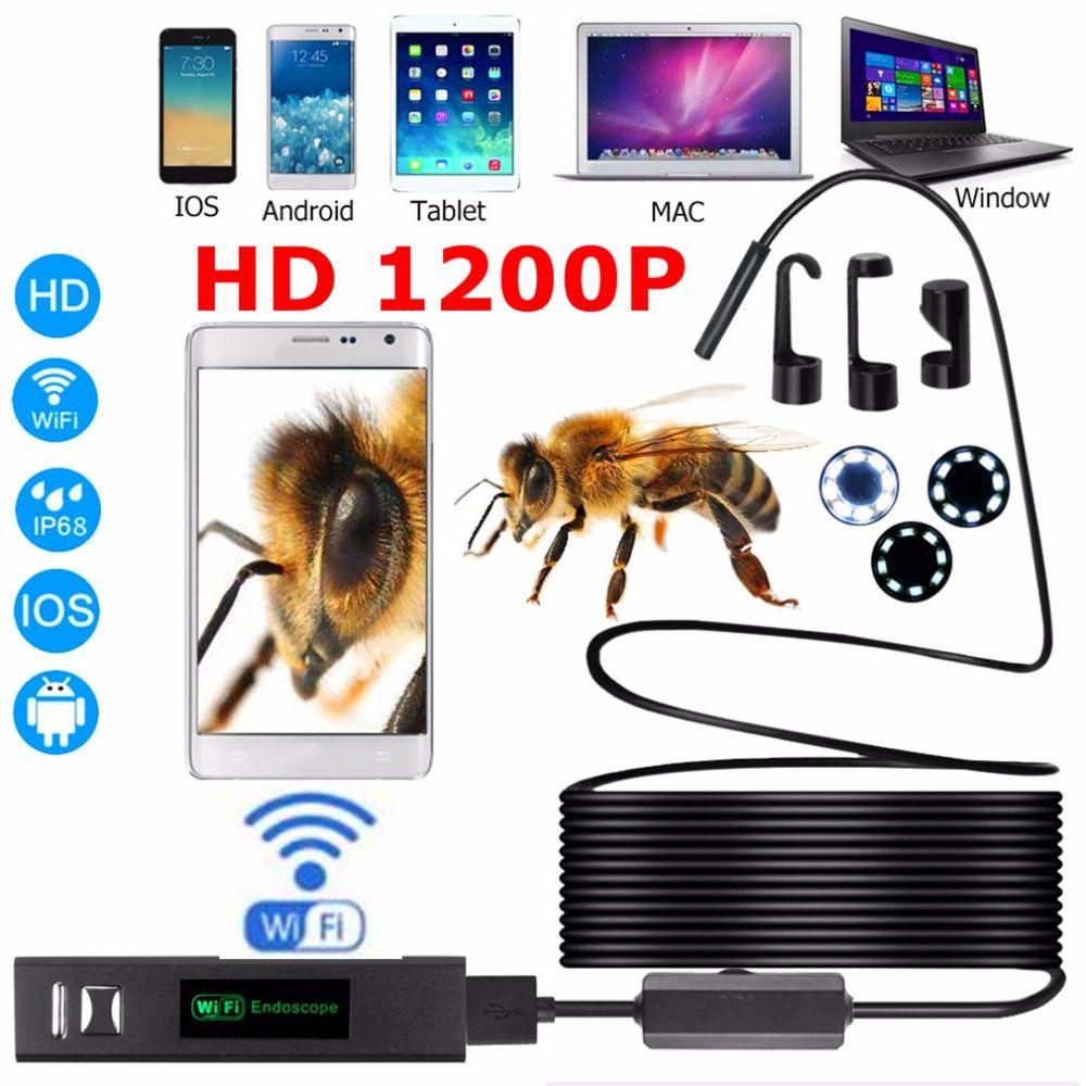 Эндоскопа HD 1200 P регулируемым 8 светодиодный Wi-Fi эндоскоп Камера 8.0 мм с жесткий кабель ip68 1 м 2 м 3.5 м 5 м 10 м для Android для IOS