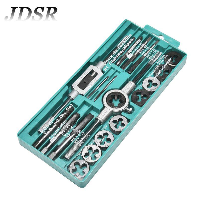 JDSR Alloy Steel Tap Dies Set Metric Plug Tap Screw Thread Taps With Adjustable Tap Wrench Hand Screw Tap Repair DIY Hand Tools