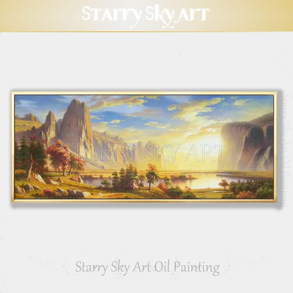 Hohe Fähigkeiten Künstler Reine Hand bemalt Hohe Qualität Sonne Erhöhen Landschaft in Park Ölgemälde auf Leinwand Natürliche Park öl Malerei