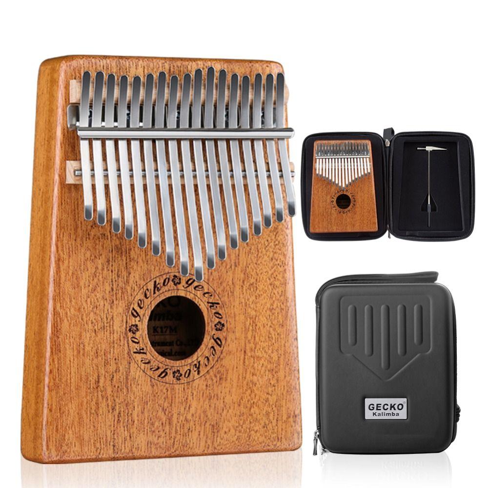 GECKO Kalimba 17 Keys Thumb Piano builts-in EVA high-performance protective box, tuning hammer and study instruction K17M