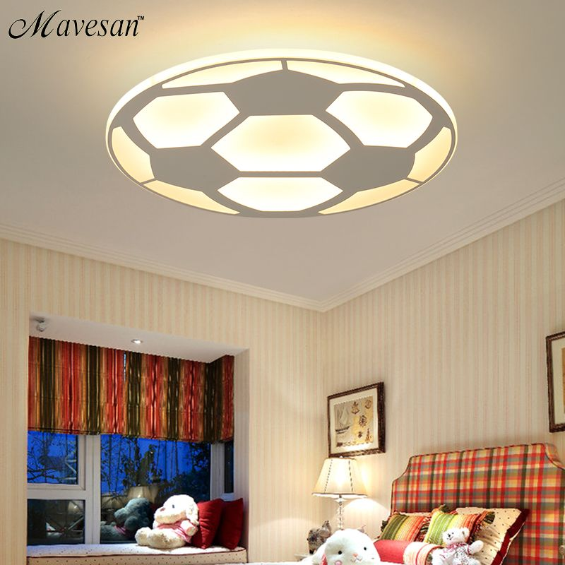 New Designer LED Kids Ceiling Lamp with football for bedroom remote control Ultrathin ceiling llight home Decorative Lampshade
