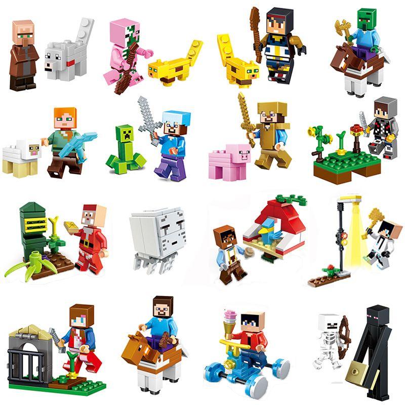 8Pcs/Lot Minecrafted Steve Alex Zombie Enderman Reuben Skeleton Weapon Action Figures Toys Compatible With LegoINGlys Blocks