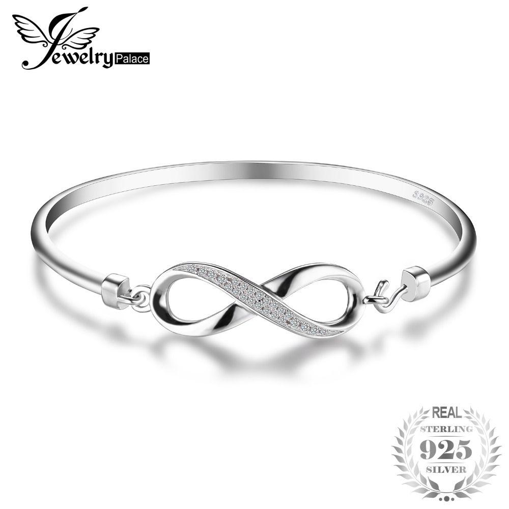 Jewelrypalace Forever Love Infinity aniversario cubic zirconia brazalete pulsera pura 925 joyería de plata esterlina pulsera de la boda