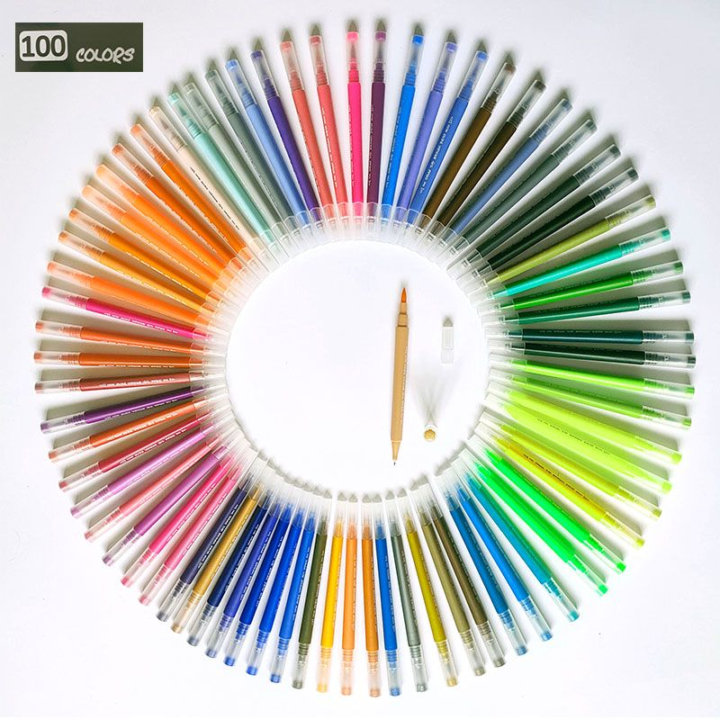 100 Colors FineLiner Drawing Painting Watercolor Art Marker Pens Dual Tip Brush Pens For Coloring Books Calligraphy Lettering