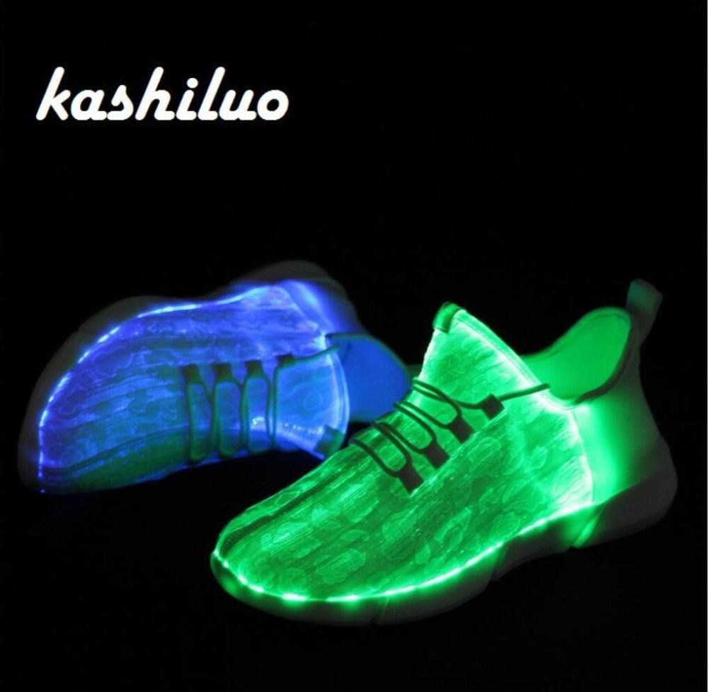 kashiluo EU#25-46 Led Shoes USB chargeable glowing Sneakers Fiber Optic White shoes for girls boys men women party shoe