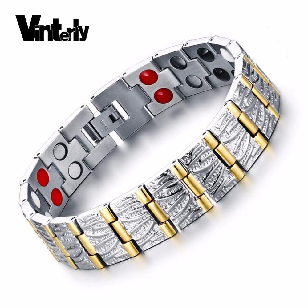 Vinterly Hommes Bracelet Couleur Or Main Chaîne Santé Énergie Magnétique Germanium Bracelets En Acier Inoxydable Bracelets pour Hommes Bijoux