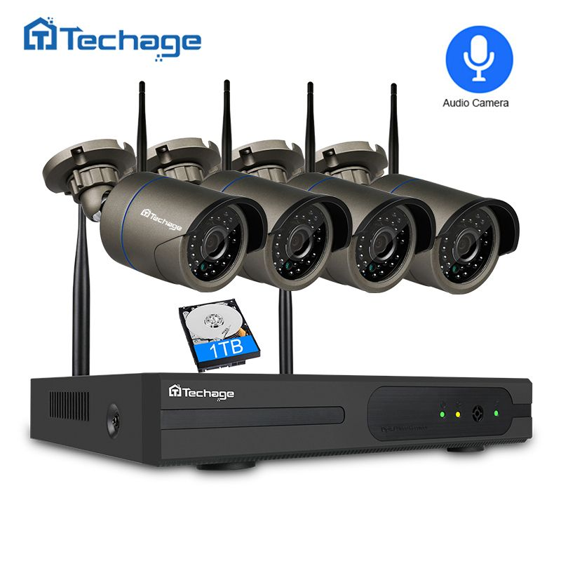 Techage 4CH 1080P Wireless NVR Kit 4PCS 2MP Outdoor Waterproof Security IP Camera IR Night Vision Audio Record WIFI CCTV System