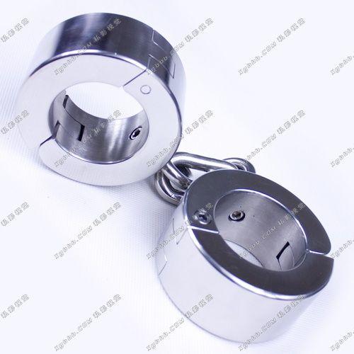 3.5kg Heavy Stainless Steel handcuffs bondage Restraint with chains lock bdsm toys,sex slave fetish bondage sex handcuffs women
