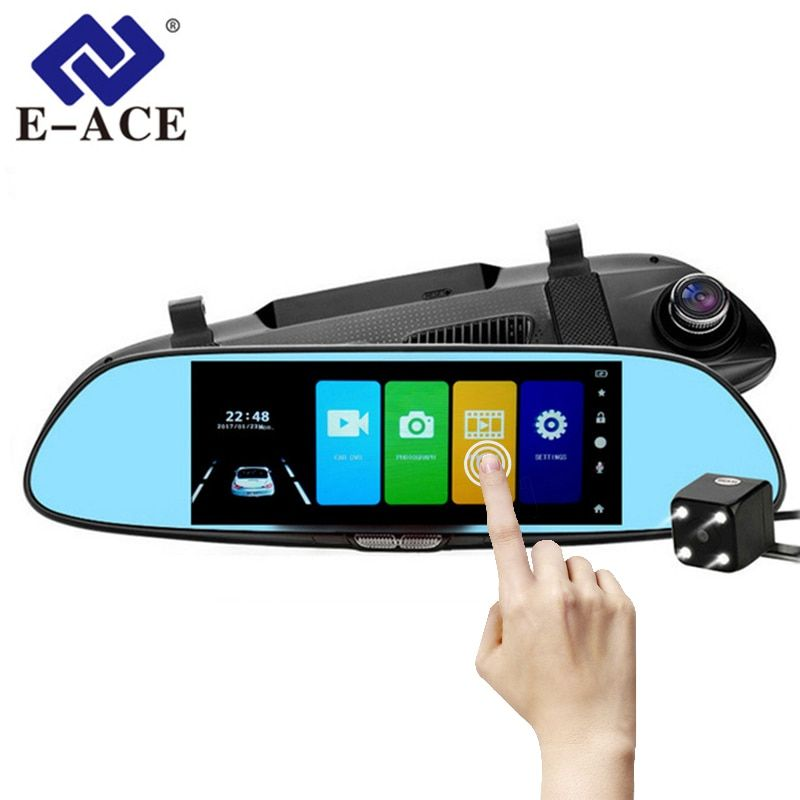 E-ACE Car DVR Full HD 1080P 7.0 Inch IPS Touch Video Recorder Camera Dual Lens with Rear View Camera Auto Registrator Dash Cam