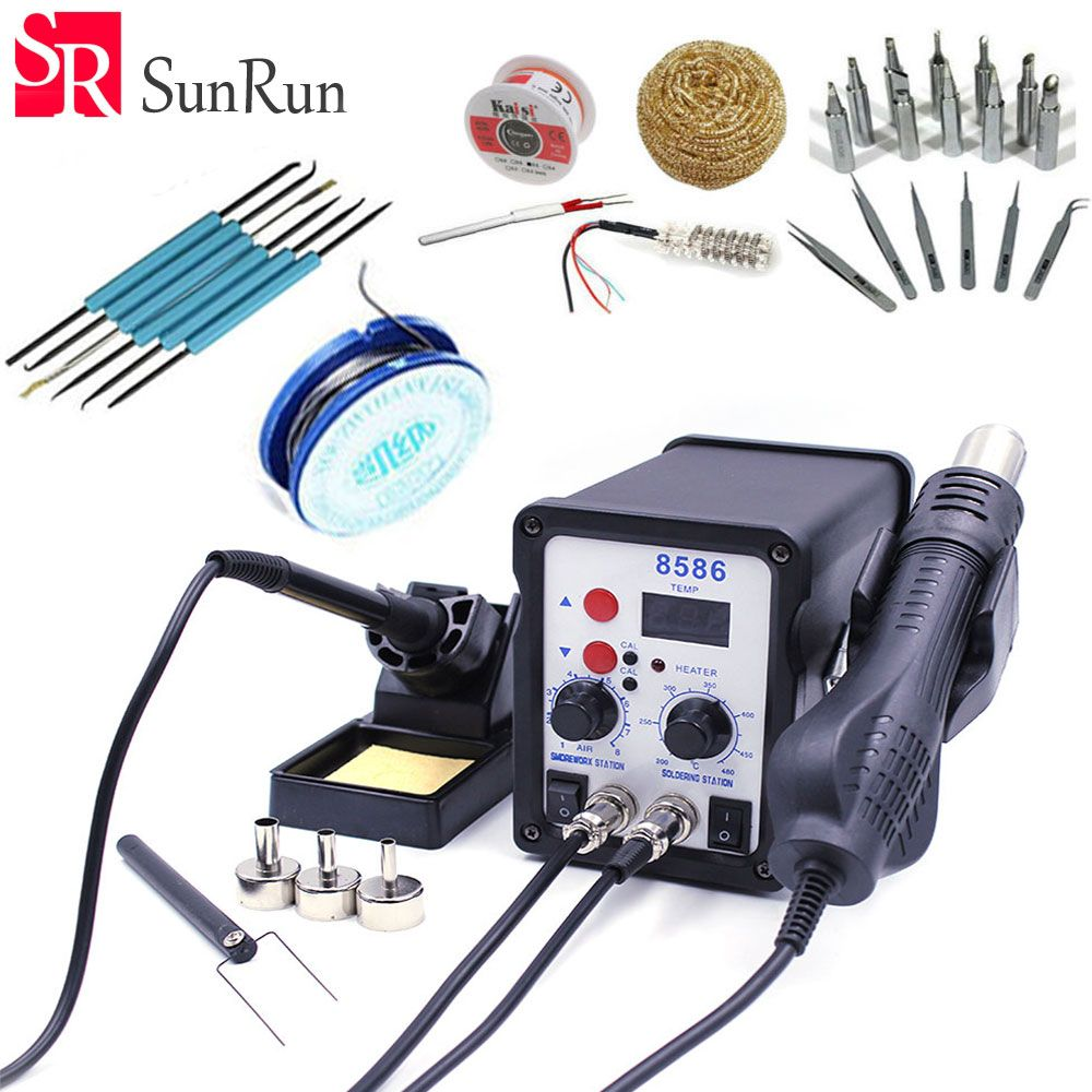 8586 110V / 220V 700W 2 in 1 SMD Rework Soldering Station Hot Air Gun + Solder Iron With Free Gifts