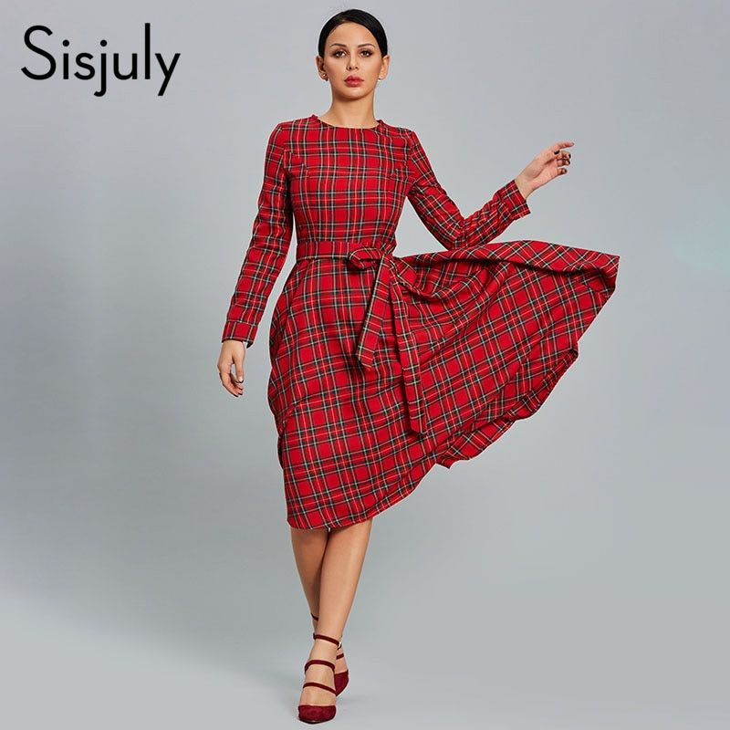 Sisjuly Women Dress Plaid Red Party Dresses Casual O Neck Long Sleeve Patchwork A line Day 2018 Female Thick Vintage Dress Hot