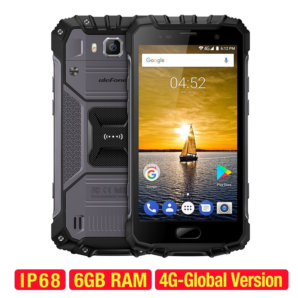 ulefone Armor 2 Smartphone Android 7.0 Octa-core 64-bit 2.6GHz 6GB+64GB 16.0MP+13.0MP IP68 Waterproof 5.0inch 4G Mobile Phone
