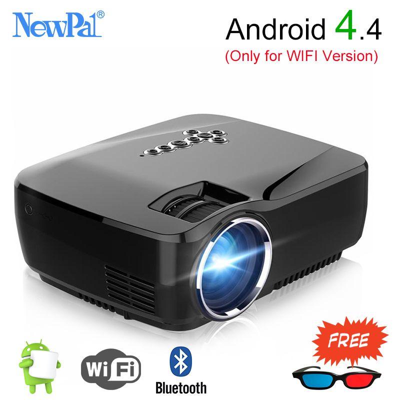 Newpal Mini Beweglicher Projektor 1200 Lumen LED Heimkino Mit Android 4.4 WIFI Bluetooth Unterstützung Miracast Airplay AC3 Proyector