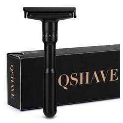 QShave Luxueux Noir Réglable Sécurité Rasoir Peut Conception Nom sur il Double Bord Classique Sécurité Rasoir Hommes Rasage 5 Cadeau lames
