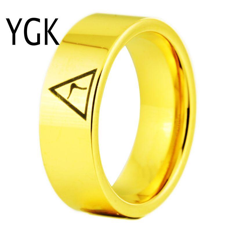 YGK marque bijoux 8 MM largeur 14th degré maçonnique couleur or tuyau coupe carbure de tungstène anneau pour homme et femme de mariage