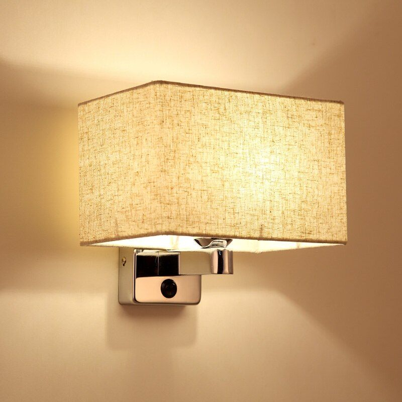 Modern Led Wall Lamps.Cloth Linen Abajur Led Wall Lights .Living room Bed room Dining room Wall Sconces with Knob Switch