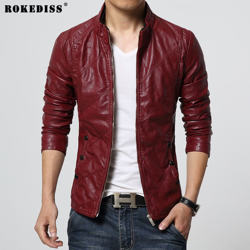 ROKEDISS New Fashion PU Leather Jacket Men Black Red Brown Solid Mens PU Coats Trend Slim Fit Youth Motorcycle Suede Jacket Male
